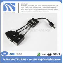 NOVO Dual Micro OTG Hub USB Host Adapter Cable para Samsung e outros Andriod telefone