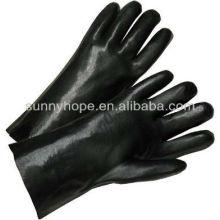 Luvas revestidas de PVC preto em estoque
