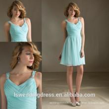 HC4281 A venda inteira A Line Tank sem mangas Light Blue Chiffon Ruffle Skirt Latest Girls Dresses
