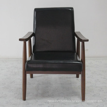Modern Design Solid Wood Sofa Chair with Leather Soft