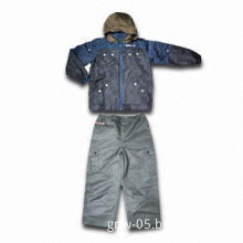 Boy Ski Outwear, 3pcs Sets with Top Camouflage Printing and Pants in Plain-color