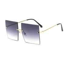 New Arrival Plastic Qsky wholesale square fashion Rimless oversized sunglasses women