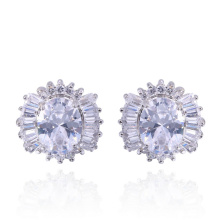 mini order white cubic zircon stud simple design earrings