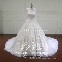 real luxury ball gown,empire waist designer illusion lace wedding dress with sleeveless