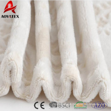 China cor sólida em relevo macio flanela cobertor de lã