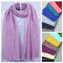 Europe style new design fashion solid color muslim scarf wholesale hijab beaded hijab scarf