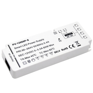 light and thin  shell led driver 12v 60w constant voltage plastic power supply for cabinet lighting
