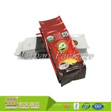 Гибкой Упаковки Высокого Барьера Напечатанный Таможней Пластичный Мешок Кофе Gusset Стороны Запечатывания Квада С Связью И Клапаном Олова