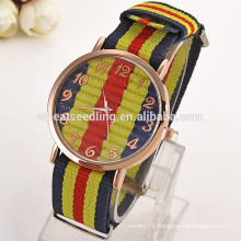 2016hot trendy colorful fabric strap promotion cool geneva men watch