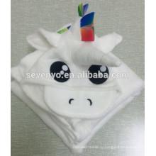 100%бамбуковое волокно милый мини-единорог с капюшоном полотенце ,Ультра мягкий, супер Абсорбента, x-большой 70*100 см,для детей & полотенца ванны младенца