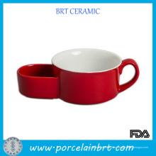 Taza de sopa de cerámica roja del producto caliente con el tenedor