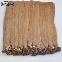 Productos nuevos al por mayor doble dibujados italiano europeo 100 queratina pre consolidada extensiones de cabello humano de calidad plana punta
