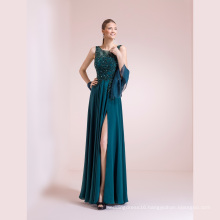 Green Beading A Line Chiffon Evening Gowns