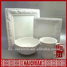Cerâmica, branca, gravado, dinnerware, jogo