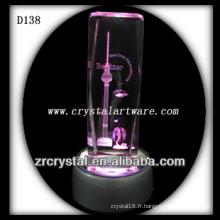 Cristal gravé au laser K9 avec base LED coloré