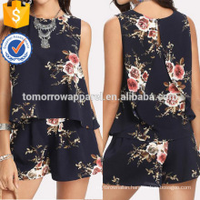 Floral Print Overlap Back Top & Shorts Set Manufacture Wholesale Fashion Women Apparel (TA4113SS)