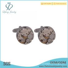 Preço de atacado branco aço chapeamento cobre relógio mecanismo abotoaduras