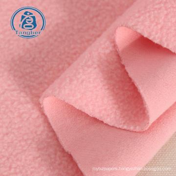 brushed pink polyester cotton polar fleece hoodie fabric