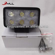 10V 30V 18W Rectángulo auto LED Luz de trabajo spot haz de inundación SUV ATV 4x4 faro todo terreno faro cuadrado
