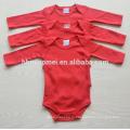 оптовая с длинным рукавом 3шт комплект новорожденный ребенок 100% хлопок простой цвет ребенка ползунки