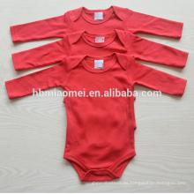 manga larga al por mayor 3 unids conjunto bebé recién nacido 100% algodón color liso mameluco del bebé