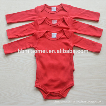wholesale long sleeve 3pcs set newborn baby 100% cotton plain color baby romper