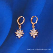 Boucle d'oreille à fleurs zircon (23780)