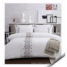 Proveedor de textil 100% algodón juego de cama de hotel, conjunto de cama de hotel de alta calidad