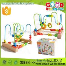 Детские образовательные бусины Деревянные игрушки Поставщик OEM / ODM Картины для животных и фруктов Печать Бусина из дерева для ребенка