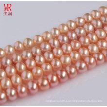 9-10mm rosa echten natürlichen Perlenstrang, Knopf rund