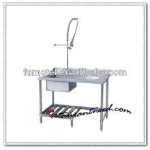 K146 Table de nettoyage de table à vaisselle en acier inoxydable