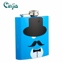6 Oz Silk-Printing Mustache Series Hip Flask (XF-633) for Gift
