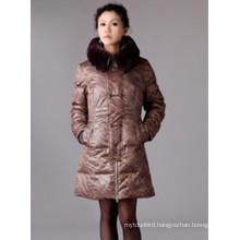 Women'S Mid-Length Down Jacket Big Fur Collar