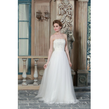 ED Bridal Strapless Sem Manga Lace Appliques Beads A Line White Wedding Gown