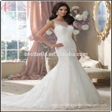 De encaje de sirena de alta calidad Appliqued Princesa nupcial vestido de novia sirena Backless
