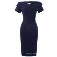 Belle Poque vendaje de hombro acanalado blusa de manga corta delgada celebridad partido retro cosecha vestido de lápiz BP000158-3