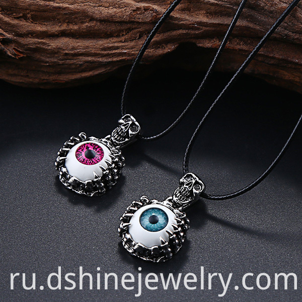 Eye Charm Mens Leather Necklace