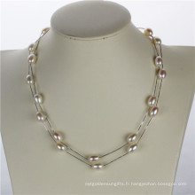 Snh Collier de perles de femmes à eau douce longue et douce de 36 po