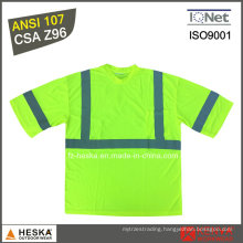 Safety Quick Dry Reflective Short Sleeve Hi Vis Yellow T Shirt