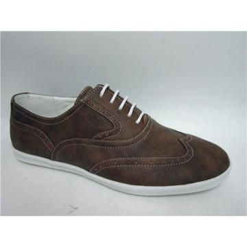 Sapatos masculinos de couro PU cor marrom