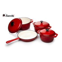 cast iron cookware set with color enamel coating