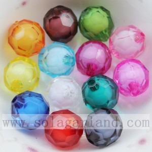 Round faceted acrylic bead-in-bead colorful inside beads