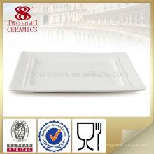 Platos cuadrados de porcelana de restaurante cuadrado plateado