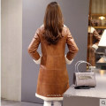 Women′s Lamb Leather and Shearling Coat Long Style