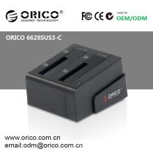 Boîtier HDD ORICO 6628SUS3-C 2bay 2.5 Station d'accueil 3.5 SATA HDD USB3.0 duplicateur eSATA 2.5inch 3.5inch