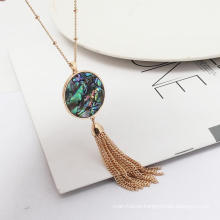 Fashion Simple Beautiful Round Abalone Shell Leopard Fringe Long Tassel Charm Sweater Chain Necklaces