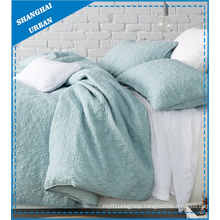 Lake Green Quilted Design Polyester Duvet Cover Set