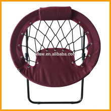 Folding round bungee chair with pillow and side pocket