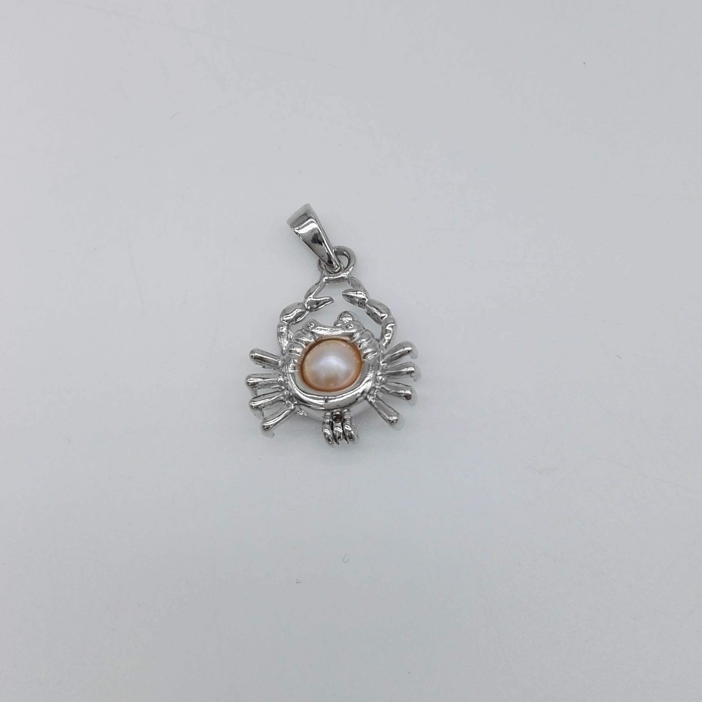 Crab Shaped Silver Pendant Cage