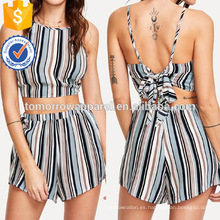 Nudo Back Striped Halter Top y pantalones cortos Set Fabricación venta al por mayor Fashion Women Apparel (TA4096SS)